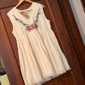 Natural life dress with hand embroidered flowers